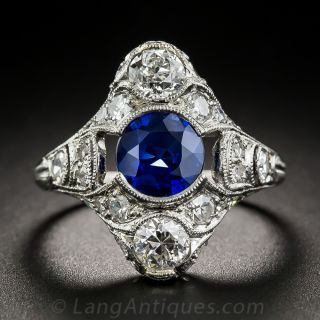 Art Deco Platinum Sapphire and Diamond Dinner Ring