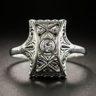 Art Deco Platinum Solitaire Diamond Ring - 2