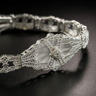 Art Deco Quartz and Diamond Filigree Bracelet  By Schiman - 2