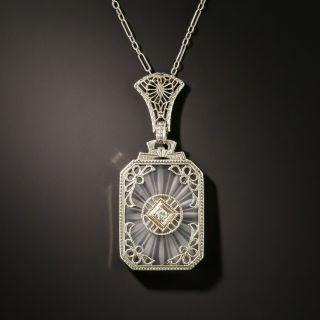 Art Deco Quartz Crystal Diamond Pendant - 2