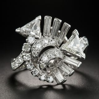 Art Deco/Retro Platinum Diamond Spray Ring