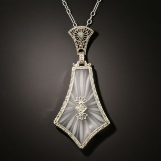 Art Deco Rock Crystal and Diamond Necklace - 3