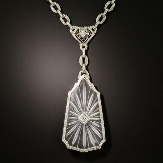 Art Deco Rock Crystal and Diamond Necklace by Krementz - 2