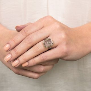 Art Deco Rock Crystal and Diamond Ring