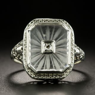 Art Deco Rock Crystal and Diamond Ring - 3