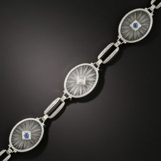 Art Deco Rock Crystal and Sapphire Oval Link Bracelet by L. Fritzsche - 3