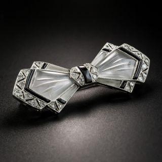 Art Deco Rock Crystal, Black Enamel and Diamond Bow Tie Pin  - 2