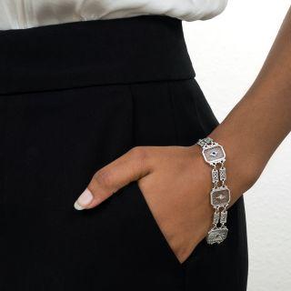 Art Deco Rock Crystal, Diamond and Sapphire Bracelet