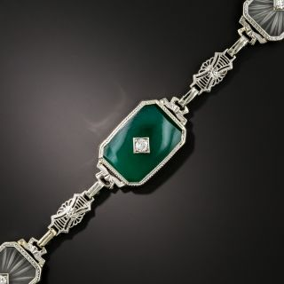 Art Deco Rock Crystal, Dyed Chalcedony, and Diamond Bracelet - 3
