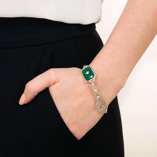 Art Deco Rock Crystal, Green Chalcedony and Diamond Bracelet