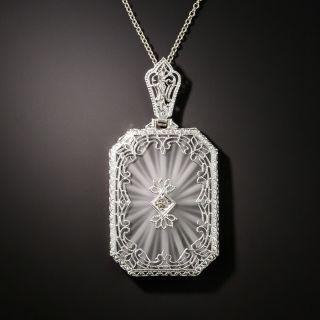 Art Deco Rock Crystal Quartz and Diamond Pendant - 3