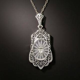 Art Deco  Rock Crystal Quartz and Diamond Pendant - 2