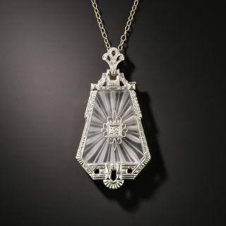Art Deco Rock Crystal Quartz and Diamond Pendant Necklace - 2