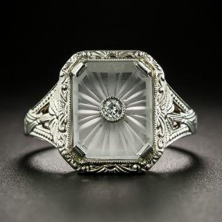Art Deco Rock Crystal Quartz and Diamond Ring - 2