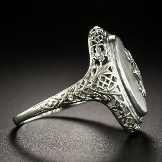 Art Deco Rock Crystal Quartz and Diamond Ring