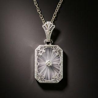Art Deco Rock Crystal Quartz and Diamond Filigree Pendant - 2