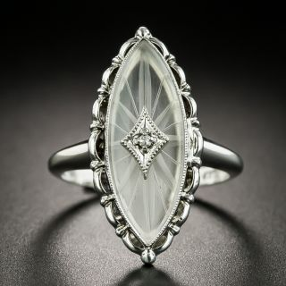 Art Deco Rock Quartz Crystal and Diamond Dinner Ring - 2
