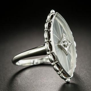 Art Deco Rock Quartz Crystal and Diamond Dinner Ring