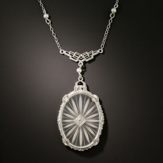 Art Deco Rock Quartz Crystal Necklace - 2
