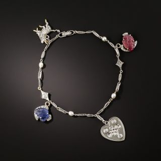 Art Deco Ruby, Sapphire and Diamond Charm Bracelet - 3
