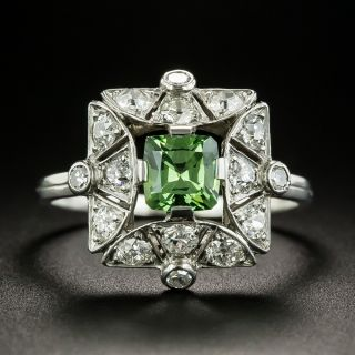 Art Deco Russian .84 Carat Demantoid Garnet and Diamond Ring  - 2