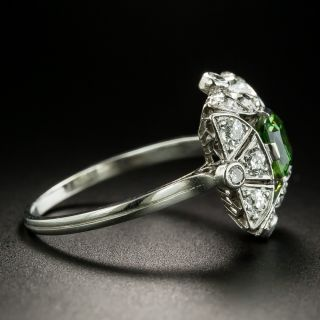 Art Deco Russian .84 Carat Demantoid Garnet and Diamond Ring