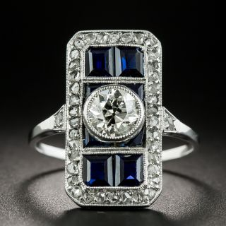 Art Deco Sapphire and .65 Carat Diamond Dinner Ring  - 2