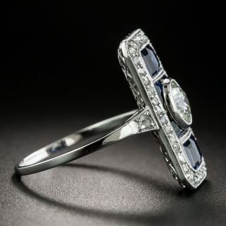 Art Deco Sapphire and .65 Carat Diamond Dinner Ring