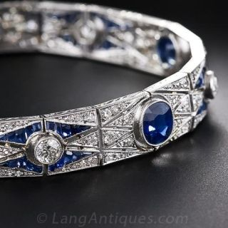 Art Deco Sapphire and Diamond Bracelet, Circa 1920s-30s
