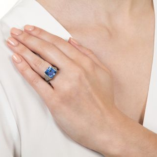Art Deco Sapphire and Diamond Ring, Size 3 3/4