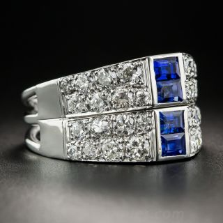 Art Deco Sapphire Diamond Twin Ring