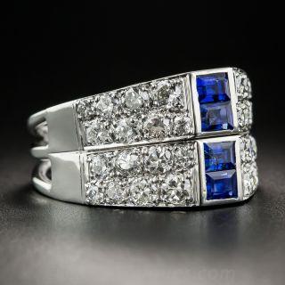 Art Deco Sapphire Diamond Twin Ring