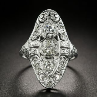 Art Deco Scroll Motif Diamond Dinner Ring - 3