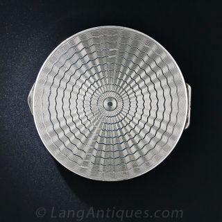 Art Deco Silver Enamel Compact