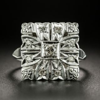 Art Deco Square Diamond Dinner Ring - 2