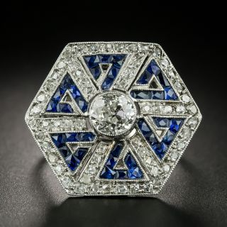 Art Deco Style 1.00 Carat Diamond and Sapphire Greek Key Motif Ring - 2