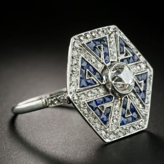 Art Deco Style 1.00 Carat Diamond and Sapphire Greek Key Motif Ring