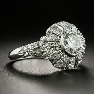 Art Deco Style 1.00 Carat Diamond Engagement  Ring - GIA  J SI1
