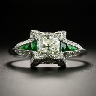 Art Deco Style 1.00 Carat Old Mine Cut Diamond Ring with Tsavorite Garnet Calibre - 2