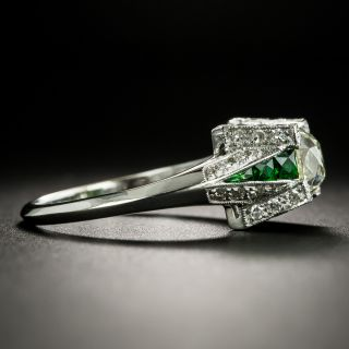 Art Deco Style 1.00 Carat Old Mine-Cut Diamond Ring with Tsavorite Garnet Calibre