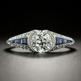 Art Deco Style 1.01 Carat Diamond and Calibre Sapphire Engagement Ring - GIA I VS1 - 2