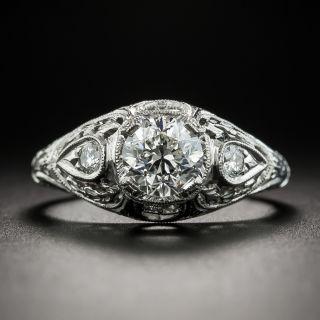 Art Deco Style 1.01 Carat Diamond Platinum Engagement Ring - GIA H VS2  - 1