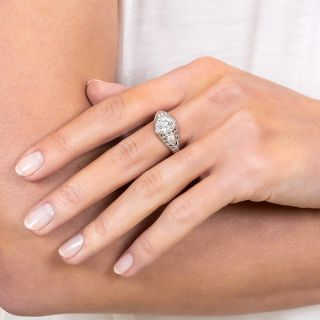 Art Deco Style 1.01 Carat Diamond Platinum Engagement Ring - GIA H VS2