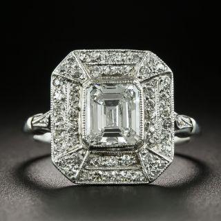 Art Deco Style 1.01 Carat Emerald-Cut Diamond Ring - GIA E SI1 - 2