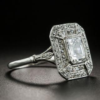 Art Deco Style 1.01 Carat Emerald-Cut Diamond Ring - GIA E SI1