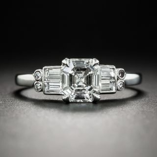 Art Deco Style 1.01 Carat Square Emerald-Cut Diamond Ring - GIA G SI1 - 1