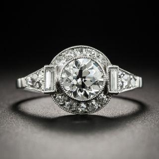 Art Deco Style 1.02 Carat Diamond Platinum Engagement Ring - GIA I VS1 - 1