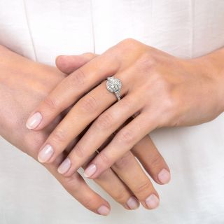 Art Deco Style 1.02 Carat Diamond Platinum Engagement Ring - GIA I VS1