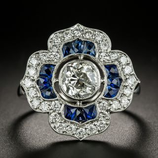 Art Deco Style 1.03 Carat Diamond and Sapphire Ring - GIA H VS2 - 3