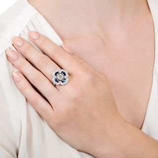 Art Deco Style 1.03 Carat Diamond and Sapphire Ring - GIA H VS2